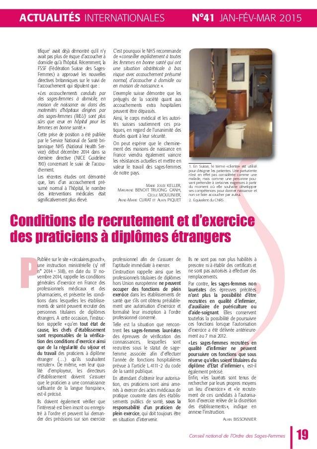 N°41 JAN-FÉV-MAR 2015 19 P Conseil national de l'Ordre des Sages-Femmes ACTUALITÉS INTERNATIONALES Publiée sur le site «ci...