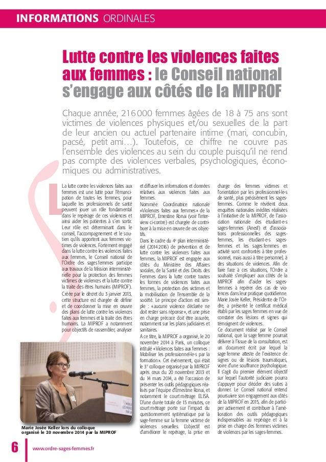 INFORMATIONS ORDINALES Lutte contre les violences faites aux femmes : le Conseil national s'engage aux côtés de la MIPROF ...