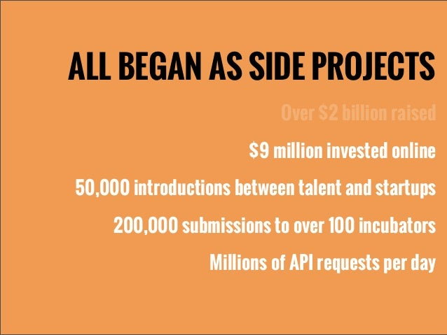 ALL BEGAN AS SIDE PROJECTSOver $2 billion raised$9 million invested online50,000 introductions between talent and startups...