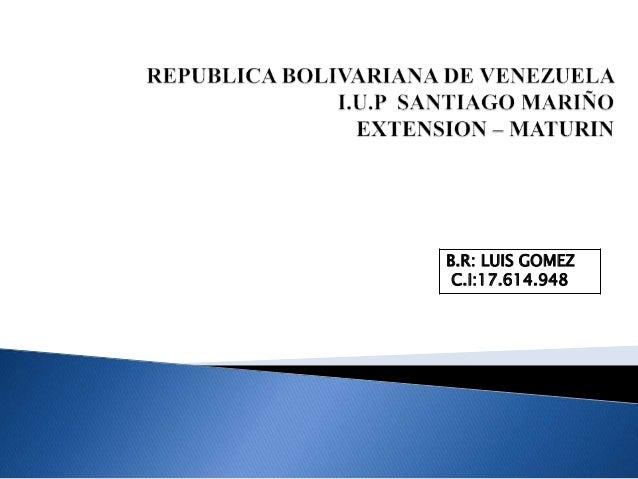 B.R: LUIS GOMEZ C.I:17.614.948