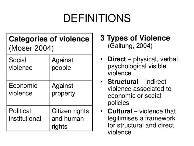 understanding direct violence For galtung, simplistic stereotypes that identify entire cultures as violent are not very helpful it's much more preferable to say, instead, that a particular aspect of a particular culture is an example of cultural violence explaining further, galtung notes: cultural violence makes direct and structural violence look, even feel, right.