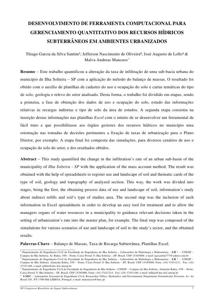 DESENVOLVIMENTO DE FERRAMENTA COMPUTACIONAL PARA         GERENCIAMENTO QUANTITATIVO DOS RECURSOS HÍDRICOS                 ...
