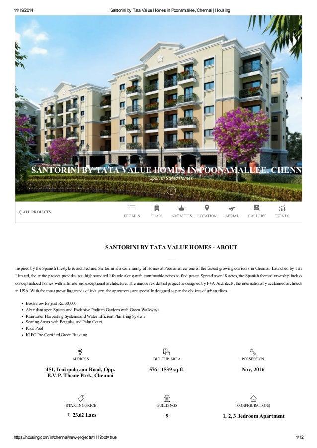 Santorini by Tata Value Homes in Poonamallee, Chennai