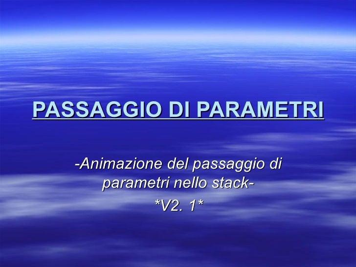 PASSAGGIO DI PARAMETRI -Animazione del passaggio di parametri nello stack- *V2. 1*