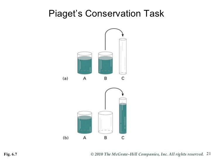 piagetian tasks: number conservation essay Piaget employed a variety of conservation tasks to analyze the mental capacities  of children for piaget's test for conservation of number, he used two rows with.
