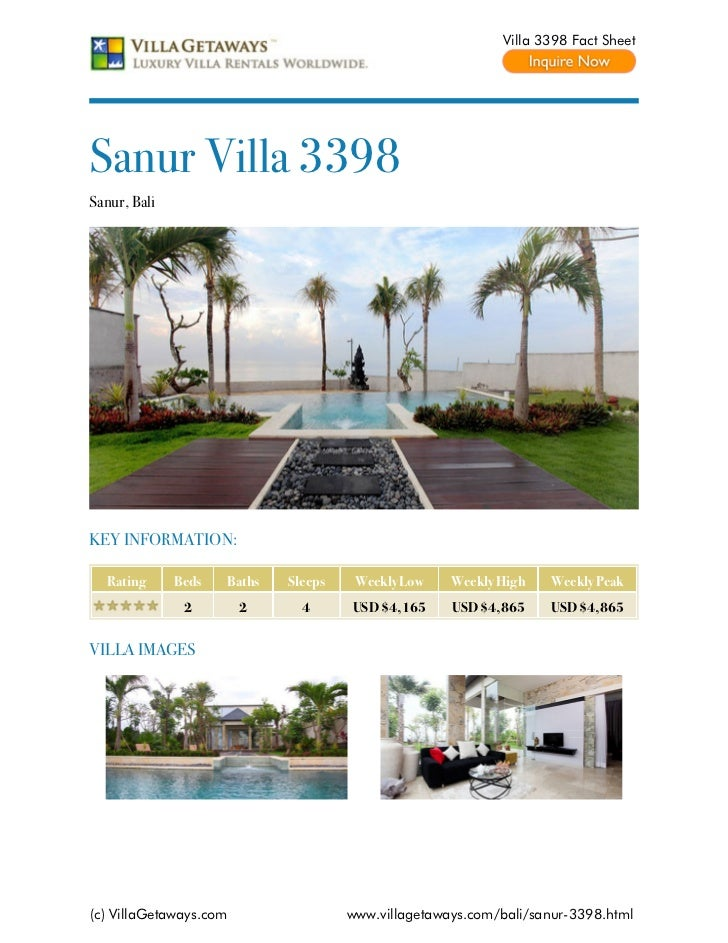 Villa 3398 Fact SheetSanur Villa 3398Sanur, BaliKEY INFORMATION:  Rating      Beds   Baths   Sleeps    Weekly Low    Weekl...