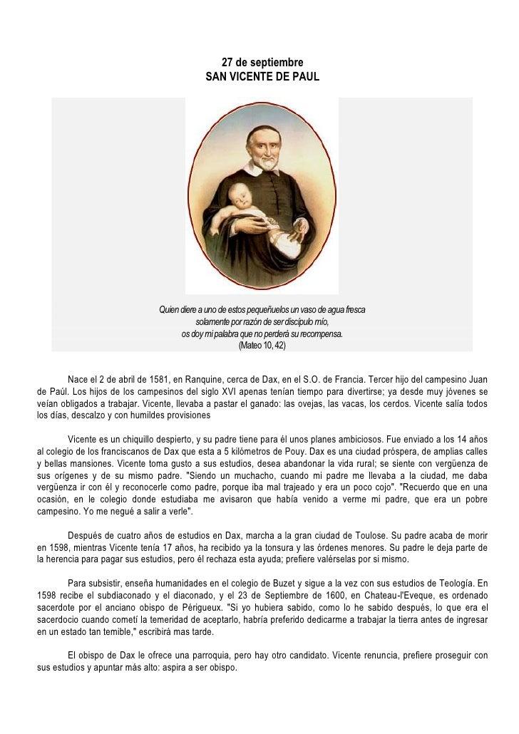 27 de septiembre                                              SAN VICENTE DE PAUL                                     Quie...