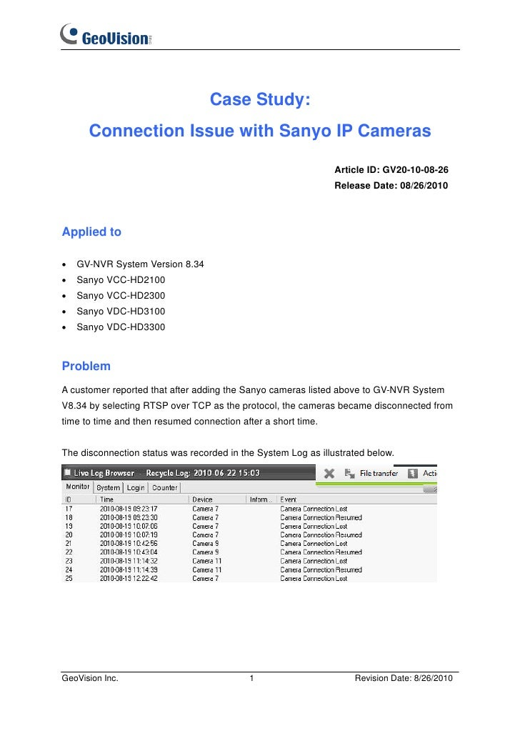 Case Study:      Connection Issue with Sanyo IP Cameras                                                               Arti...