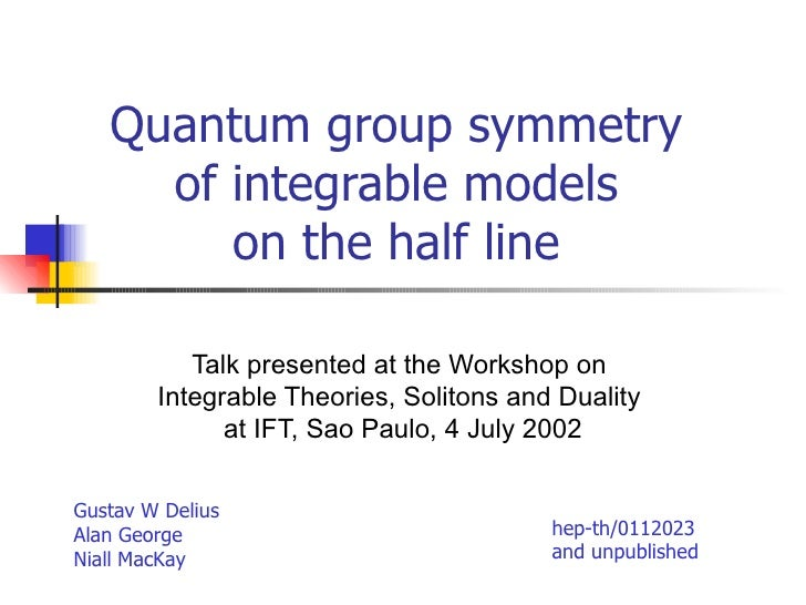 Quantum group symmetry of integrable models on the half line Talk presented at the Workshop on  Integrable Theories, Solit...