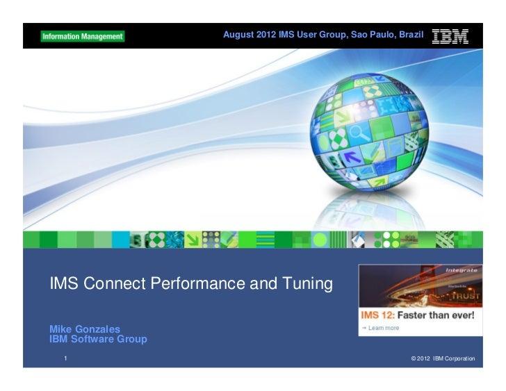 August 2012 IMS User Group, Sao Paulo, BrazilIMS Connect Performance and TuningMike GonzalesIBM Software Group  1         ...