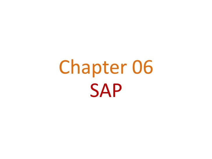 Chapter 06   SAP