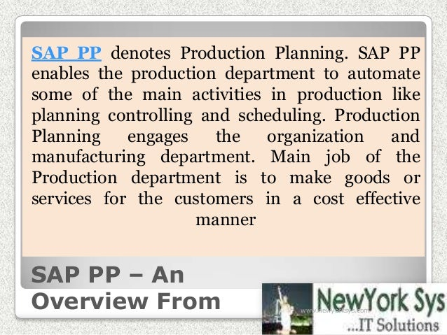 SAP PP – An Overview From SAP PP denotes Production Planning. SAP PP enables the production department to automate some of...