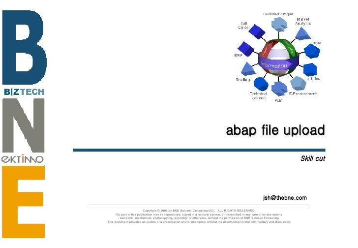 abap file upload Skill cut [email_address] Copyright © 2006 by BNE Solution Consulting INC.  ALL RIGHTS RESERVED. No part ...