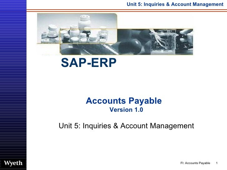 Accounts Payable  Version 1.0 Unit 5: Inquiries & Account Management SAP-ERP