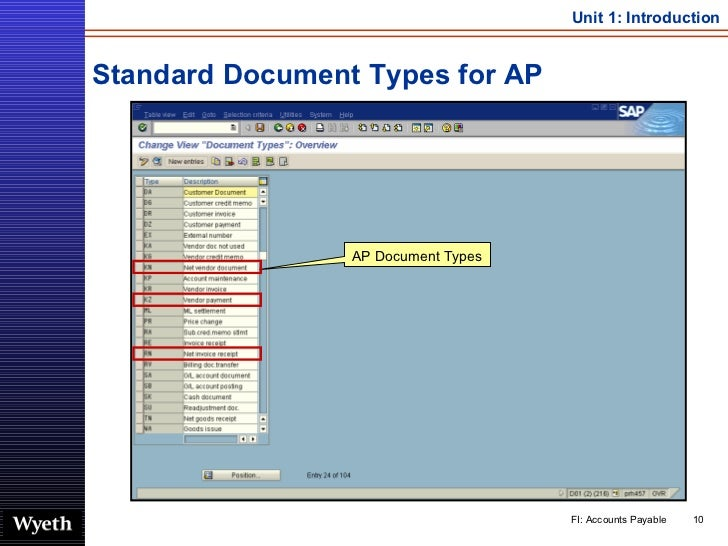 Standard Document Types for AP AP Document Types