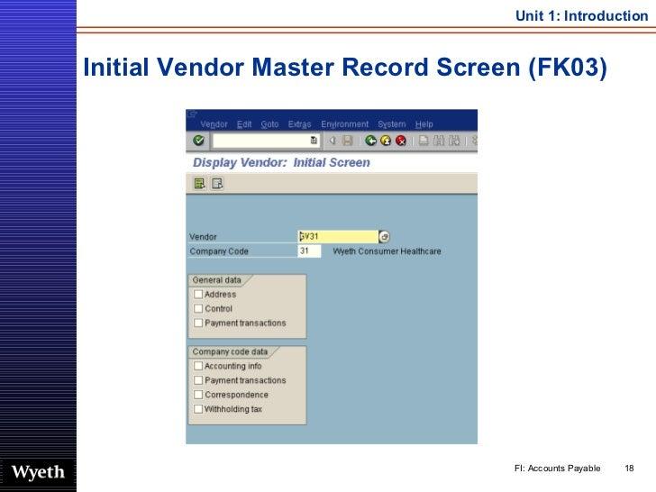 Initial Vendor Master Record Screen (FK03)