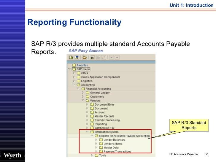 Reporting Functionality <ul><li>SAP R/3 provides multiple standard Accounts Payable Reports. </li></ul>SAP R/3 Standard Re...