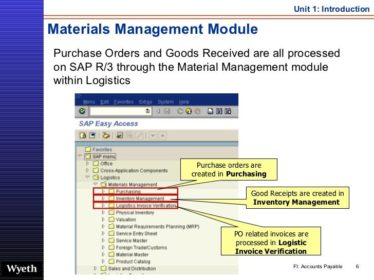 Materials Management Module <ul><li>Purchase Orders and Goods Received are all processed on SAP R/3 through the Material M...