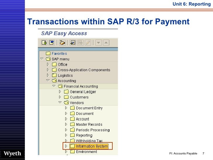 Transactions within SAP R/3 for Payment