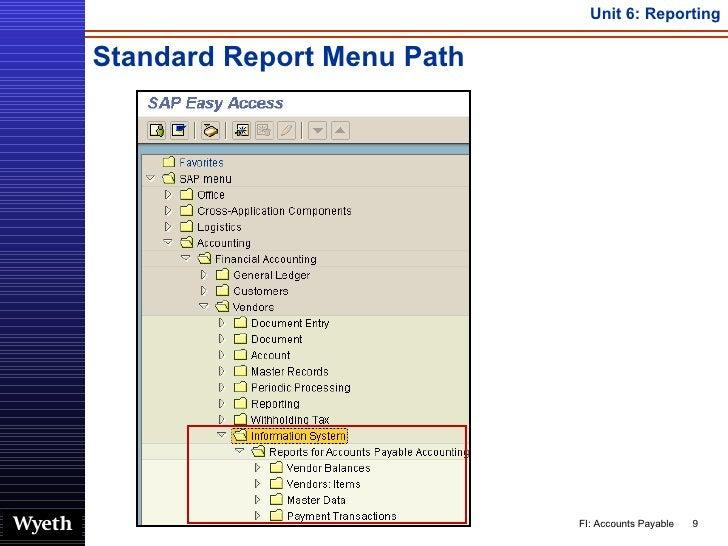 Standard Report Menu Path
