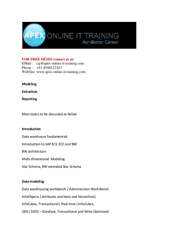 FOR FREE DEMO contact us at: EMail : raj@apex-online-it-training.com Phone : +91-8500122107 WebSite: www.apex-online-it-tr...