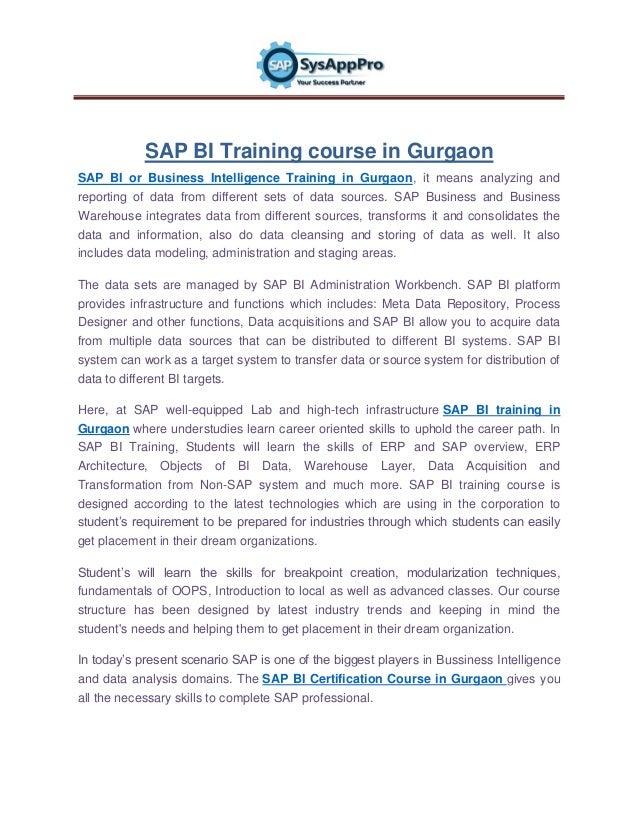 Sap Bi Training Institute Gurgaon