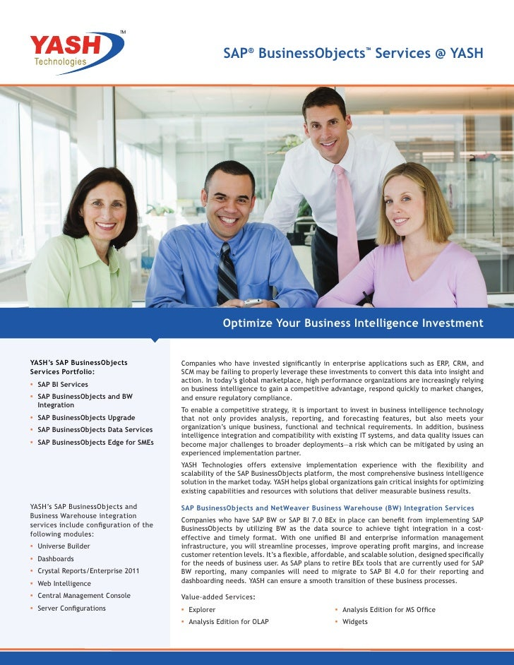 SAP® BusinessObjects™ Services @ YASH                                                     Optimize Your Business Intellige...