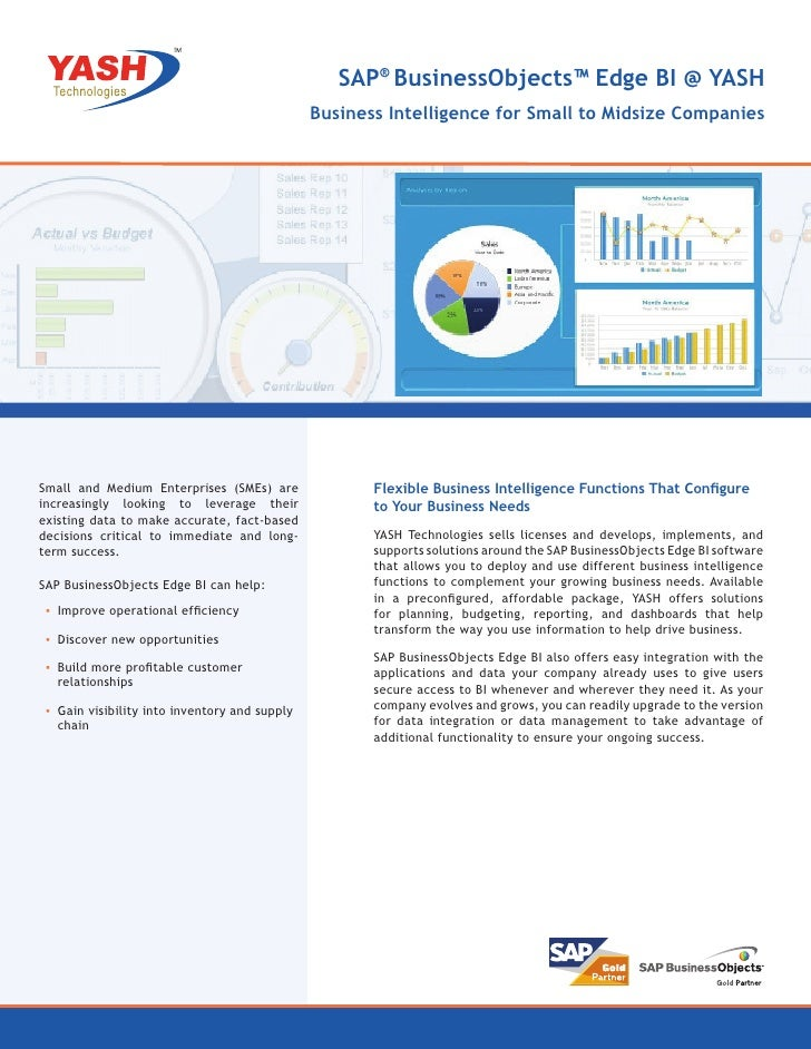 SAP® BusinessObjects™ Edge BI @ YASH                                                Business Intelligence for Small to Mid...