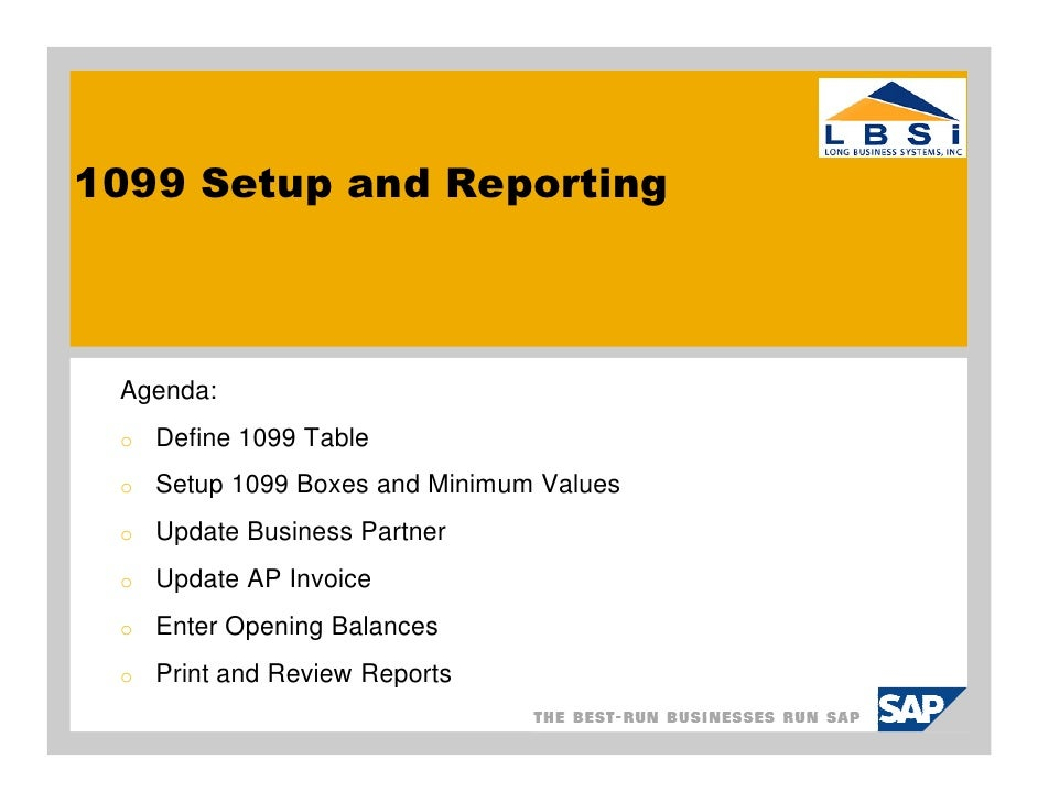 Sap Business One 1099 Setup And Processing