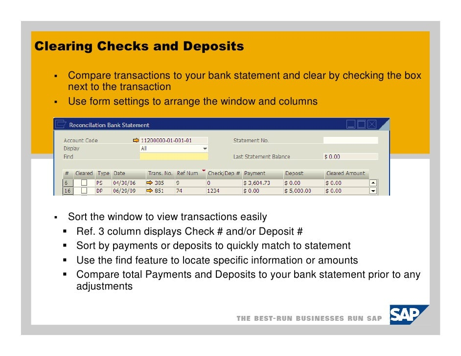 sap business one bank reconciliation