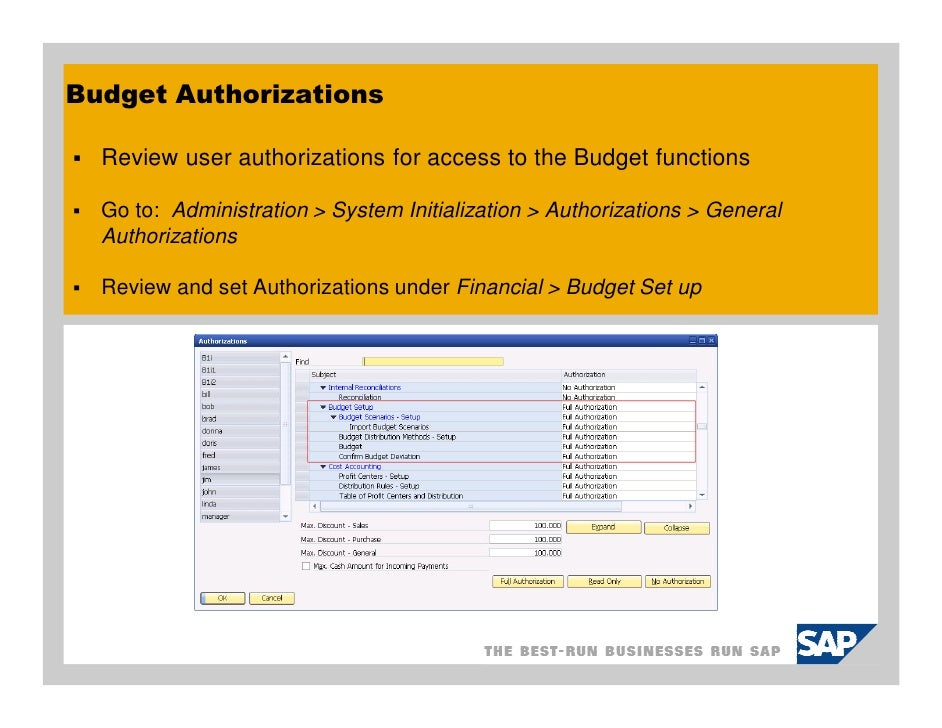 sap business one budgets