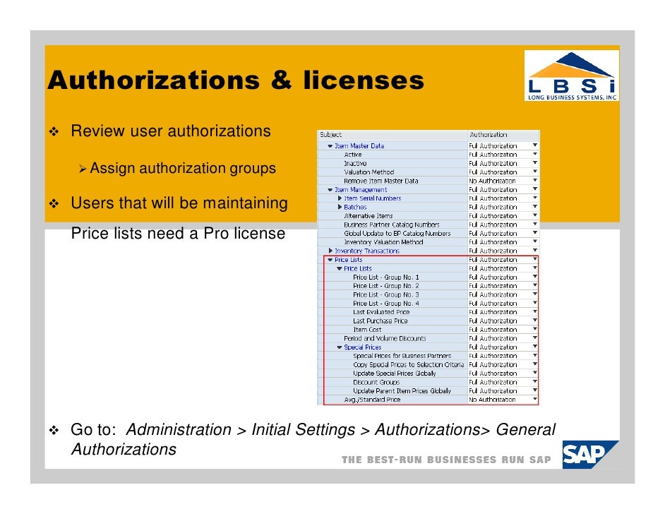 how to use sap business one price lists in 8 81