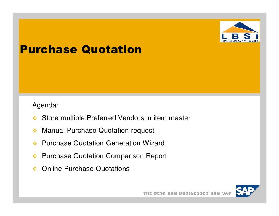 Sap BusinessOnePurchaseQuotation
