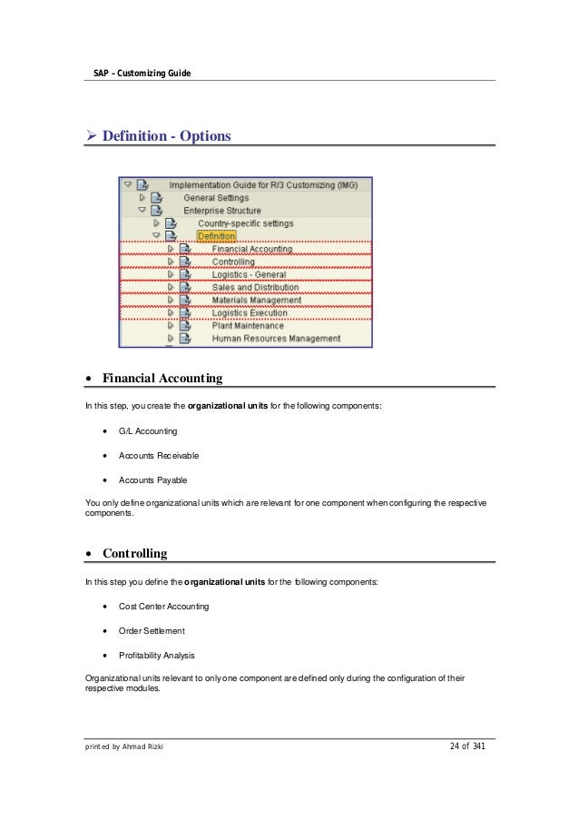 SAP – Customizing Guide    Definition - Options    Financial AccountingIn this step, you create the organizational units f...