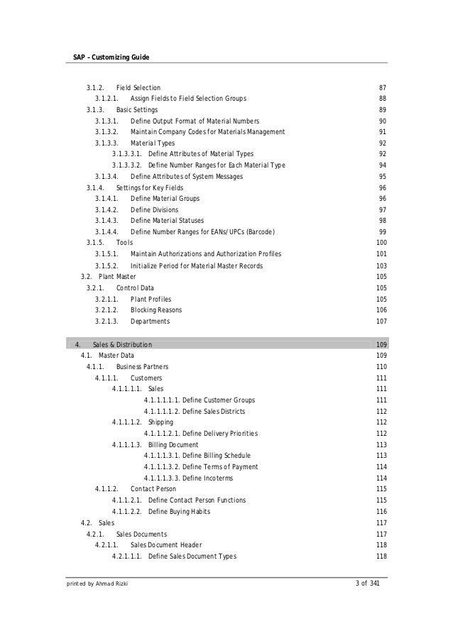 SAP – Customizing Guide        3.1.2.    Field Selection                                                    87          3....