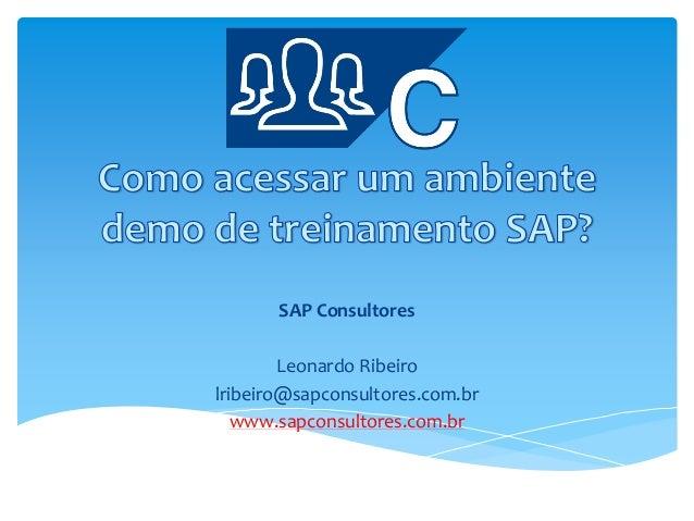 SAP Consultores Leonardo Ribeiro lribeiro@sapconsultores.com.br www.sapconsultores.com.br