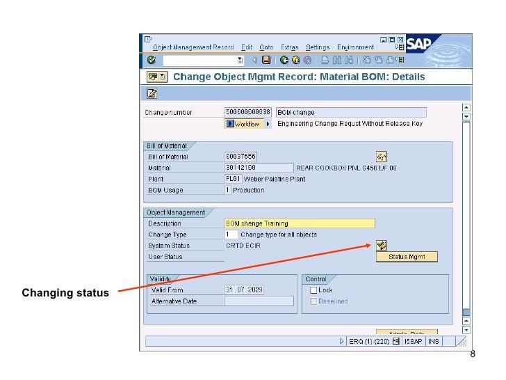 SAP: ECR, ECO, BOM