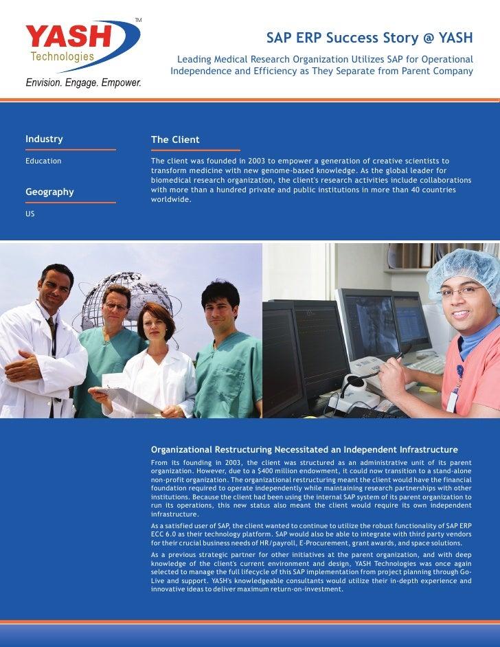 TM                                                      SAP ERP Success Story @ YASH                         Leading Medic...