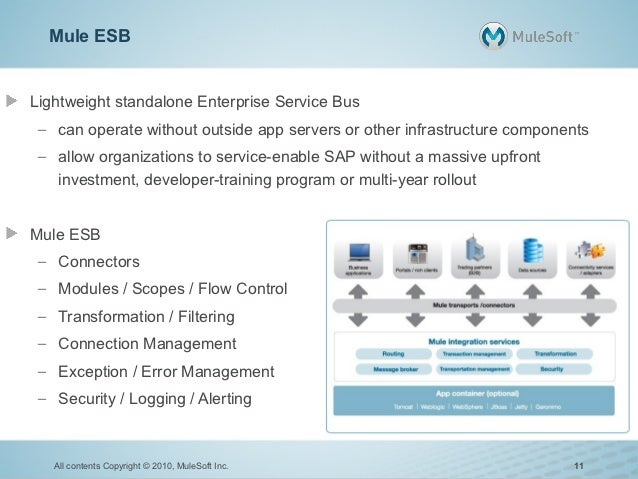 Mule ESBLightweight standalone Enterprise Service Bus – can operate without outside app servers or other infrastructure co...
