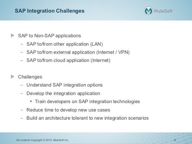 SAP Integration Challenges SAP to Non-SAP applications   – SAP to/from other application (LAN)   – SAP to/from external ap...