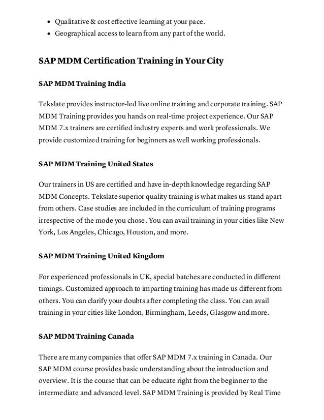 Sap Mdm Master Data Management Training