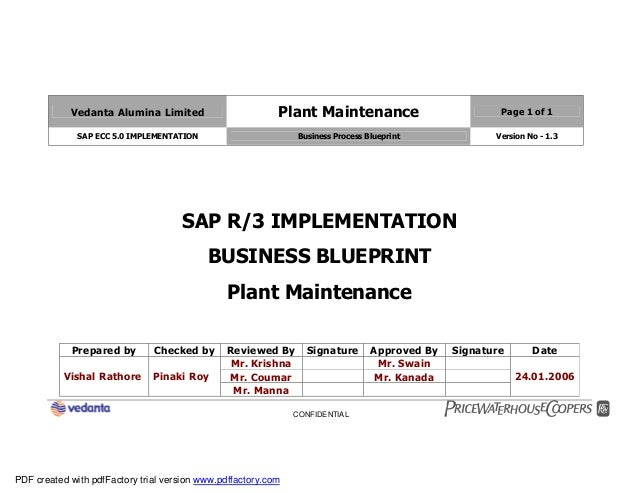 Sap plant maintenance pm business blueprint bbp2 vedanta alumina limited plant maintenance page 1 of 1 sap ecc 50 implementation business process blueprint malvernweather