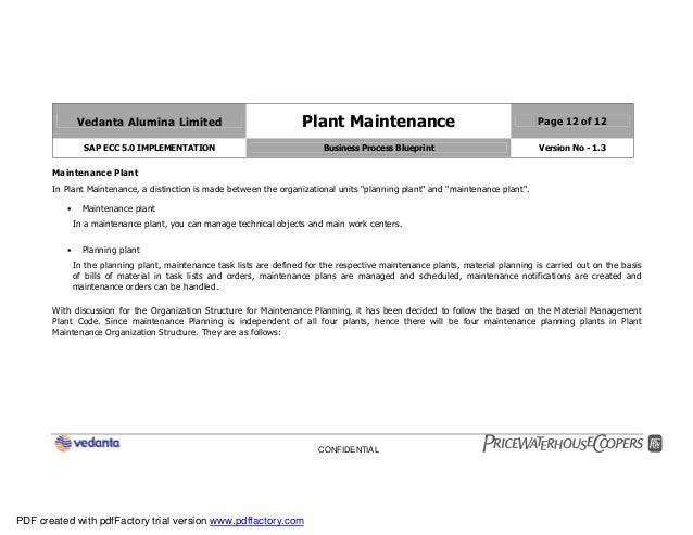 Sap plant maintenance pm business blueprint bbp2 12 vedanta alumina limited plant maintenance page 12 of 12 sap ecc 50 implementation business process blueprint malvernweather Image collections