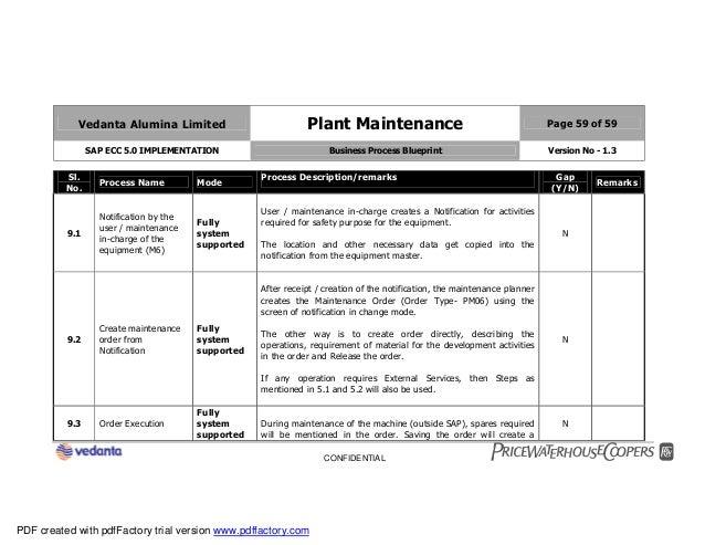 Sap plant maintenance pm business blueprint bbp2 59 vedanta alumina limited malvernweather Choice Image