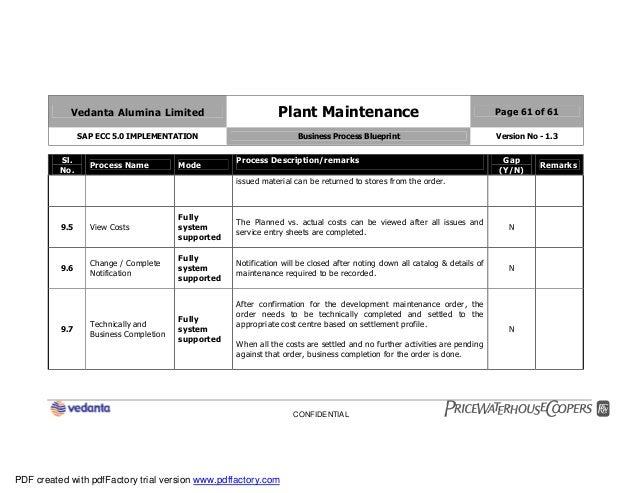 Sap plant maintenance pm business blueprint bbp2 61 vedanta alumina limited malvernweather Images
