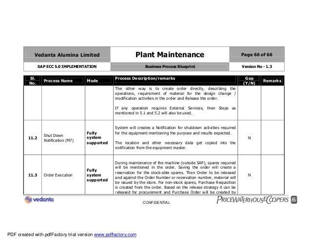 Sap plant maintenance pm business blueprint bbp2 66 vedanta alumina limited plant maintenance page 66 of 66 sap ecc 50 implementation business process blueprint malvernweather Image collections