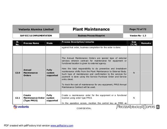 Sap plant maintenance pm business blueprint bbp2 72 vedanta alumina limited plant maintenance page 72 of 72 sap ecc 50 implementation business process blueprint malvernweather Image collections