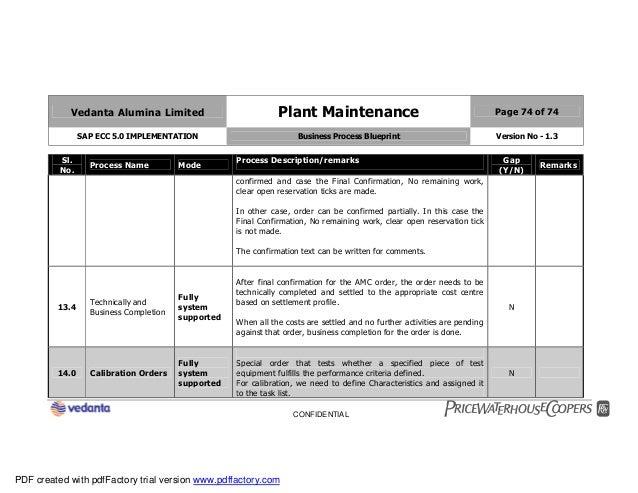 Sap plant maintenance pm business blueprint bbp2 74 vedanta alumina limited plant maintenance page 74 of 74 sap ecc 50 implementation business process blueprint malvernweather Choice Image