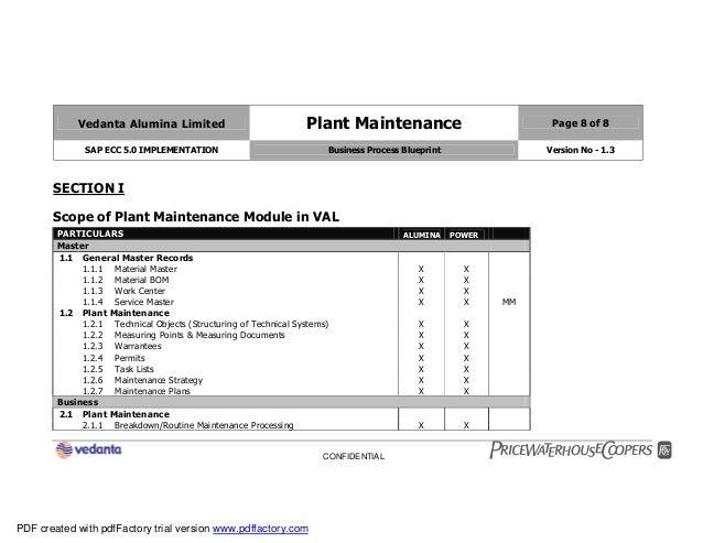 Sap plant maintenance pm business blueprint bbp2 8 vedanta alumina limited plant maintenance page 8 of 8 sap ecc 50 implementation business process blueprint malvernweather Image collections