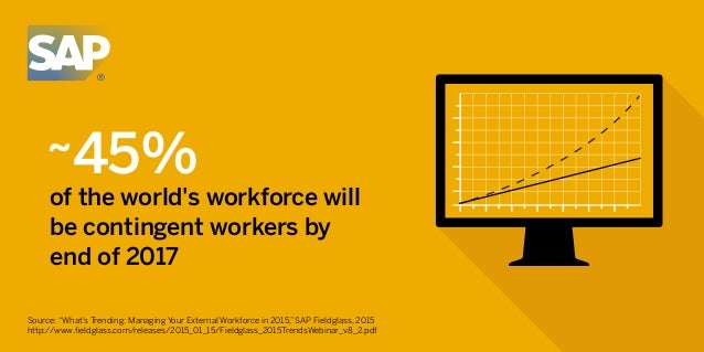 "~45% of the world's workforce will be contingent workers by end of 2017 Source: ""What's Trending: Managing Your External W..."